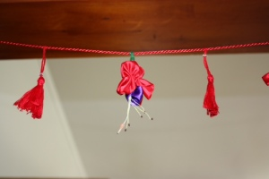 Ribbon fuchsia with tassels