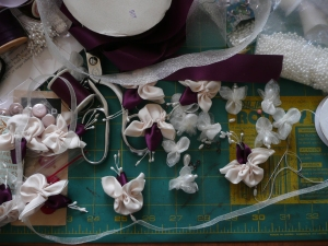 Attaching flowers to organza ribbon