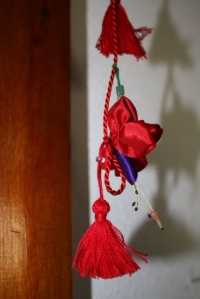 Fuchsia and tassel garland