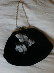 A black velvet bag gets a new touch