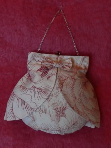 Embroidered silk bag with overskirt