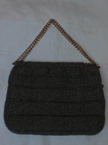 Pleated tweed bag with gold chain handles